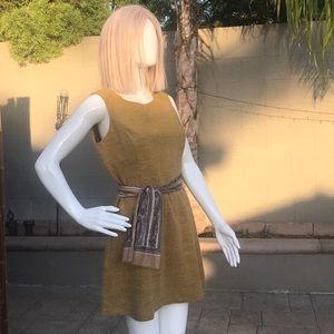 Women's mustard yellow shell dress, Size 7-8
